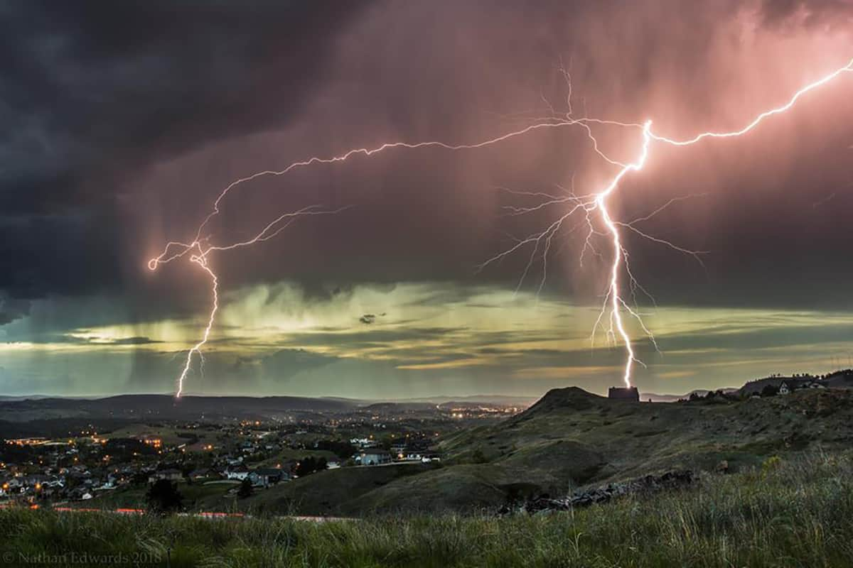 I caught this cool lightning strike at the end of an excellent chase on June 1st, 2015. This is shot overlooking one of the southern suburbs of Rapid City, South Dakota — in Rapid City, South Dakota.