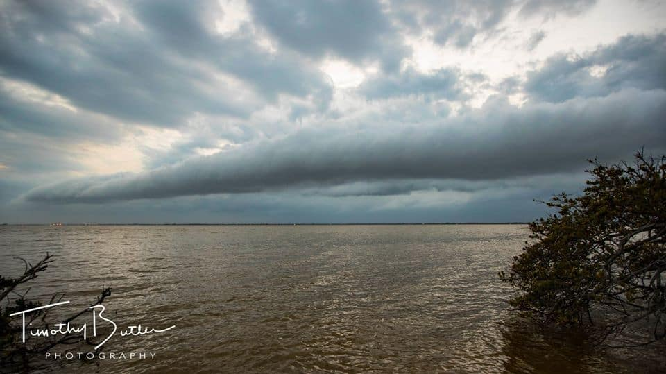 A shelf cloud rolls over the Banana River near Cape Canaveral, Florida, earlier today.