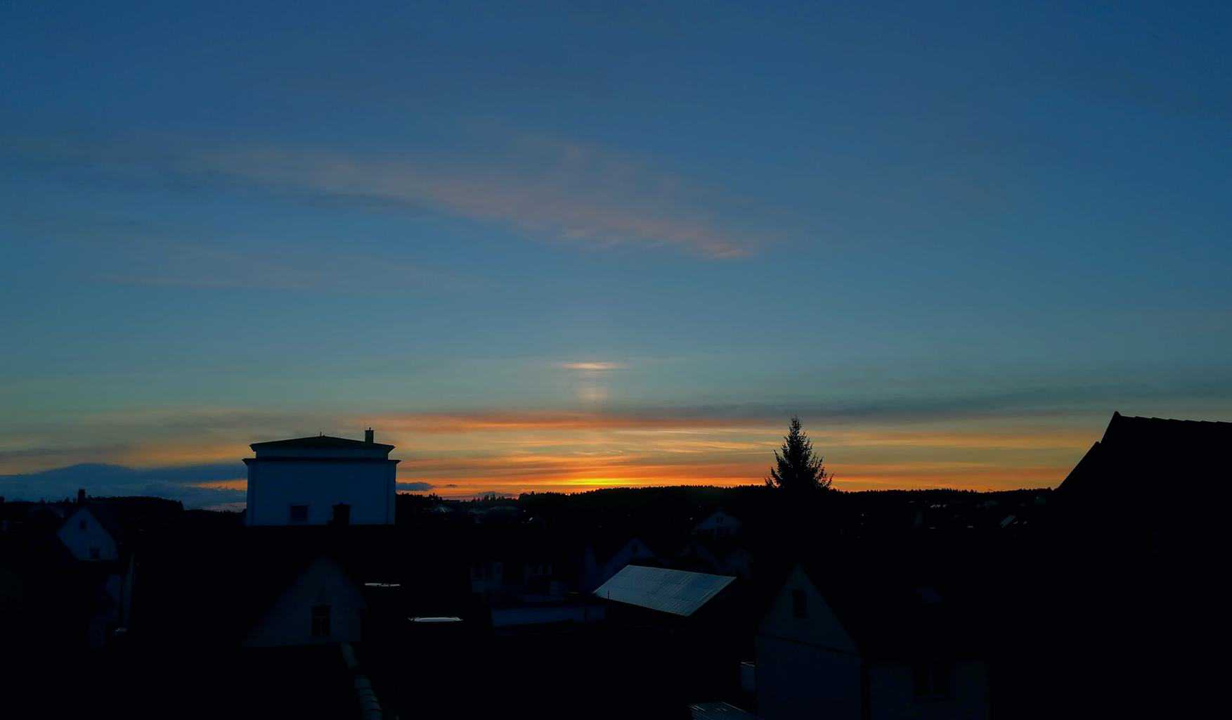Sunset with light stripe!  Southgermany, few minutes ago