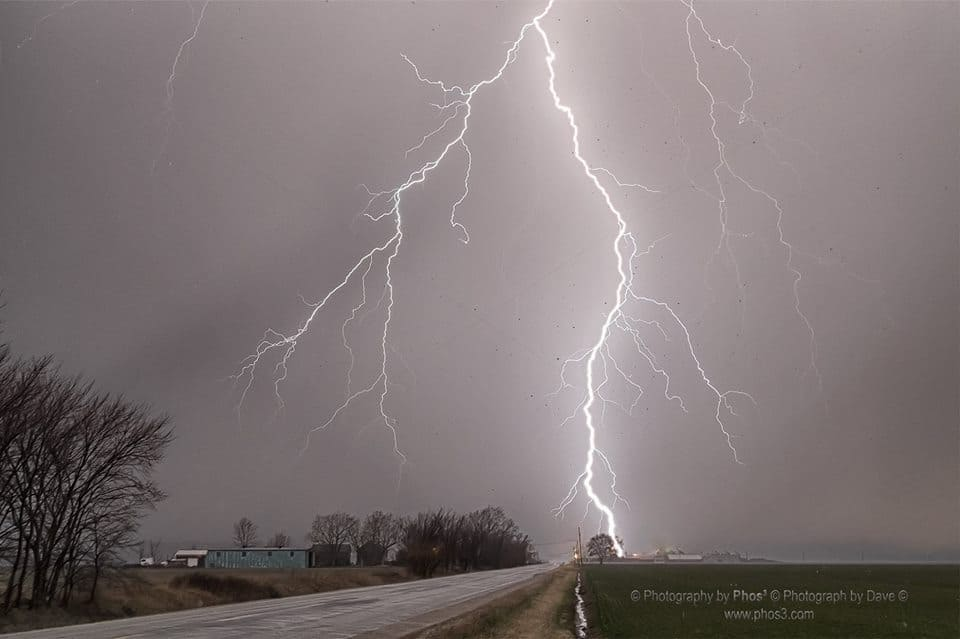 We are suffering from SDD Storm Deficit Disorder here in South Western Ontario - Remembering, March 27, 2016 This lightning was impressive!!! We were hearing and feeling the effects of hail at this point although brief Dave was able to photograph the hail in this shot. Click on the photo to see the hail falling as black dots and some lying in the wheat field.