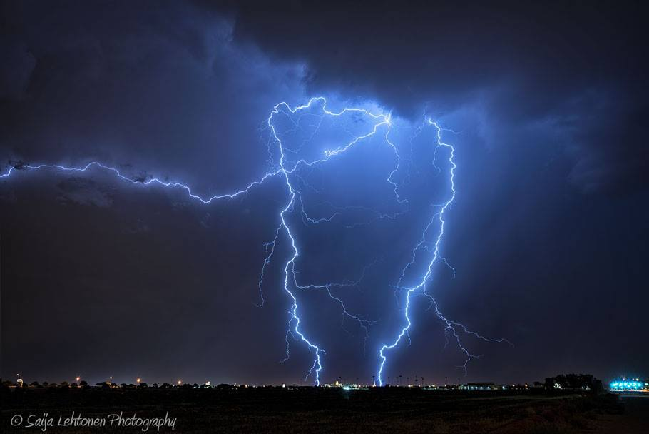 One from the start of the monsoon season last year. The storms went on late and this was somewhere around 2 a.m. on my way home and a very close strike to boot in Arizona.