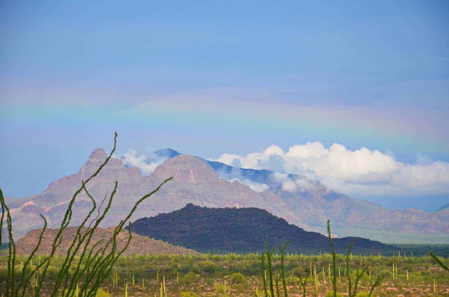 A flat rainbow over the Deablo Mts. AZ. My jaw dropped when i turned to see this ! Couldn't get my camera on it fast enough after i picked up my jaw !