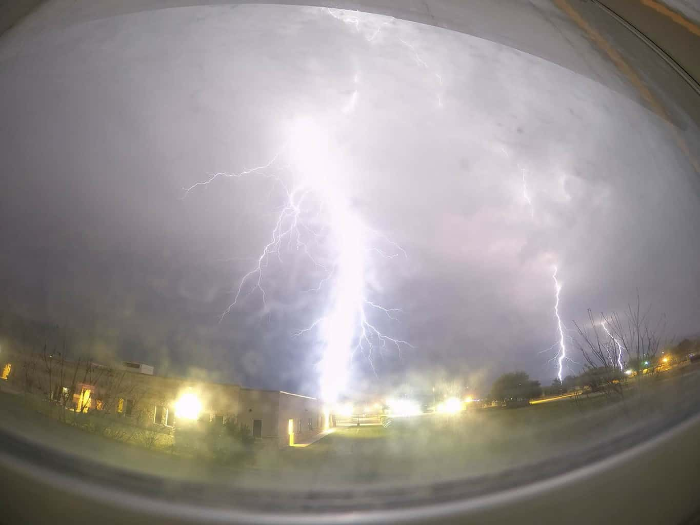 Wednesday, March 28, 2018, some severe thunderstorms moved into Bastrop County, Texas. And threw out a lot of powerful lightning bolts. As seen from my bedroom window, taken by my GoPro Hero 4.