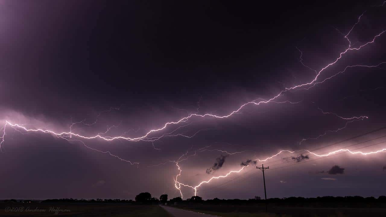 Epic anvil crawler lightning from the backside of a line of severe storms. Taken between Waxahachie and Ennis, Texas along US287 on 4/13/18.