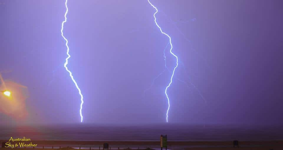 Fast moving storm roared through Corpus Christi tonight...so much lightning !....Jane captured this double bolt over Corpus Christi Bay Texas (8 second exposure time 00.23hrs.....29 March 2018 ) Photo: Jane ONeill/Clyve Herbert
