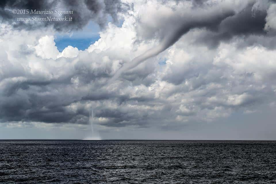Waterspout in front of the Genoa coast, Italy, August 15th, 2015..