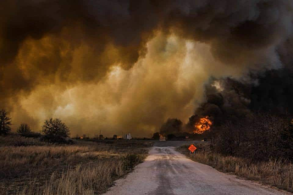 The Rhea Oklahoma Wildfire heading straight towards the town of Seiling Oklahoma. 4-17-2018. This was one of the most insane events I have ever witnessed and photographed. The devastation the loss of livestock homes and properties and even lives. It's such a tragic event.