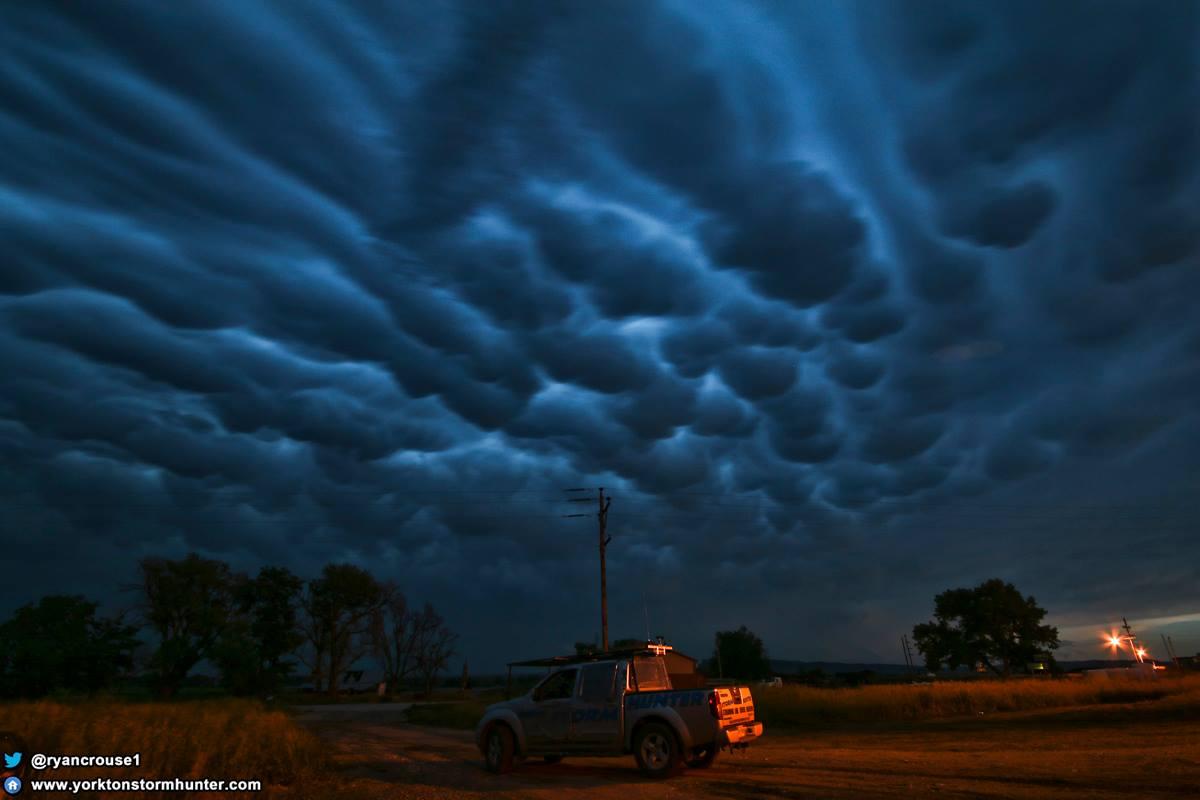 June 12, 2017 Tornado Warned Storm between Wheatland, Wyoming - House, Nebraska Mammatus Clouds around Crawford, Nebraska