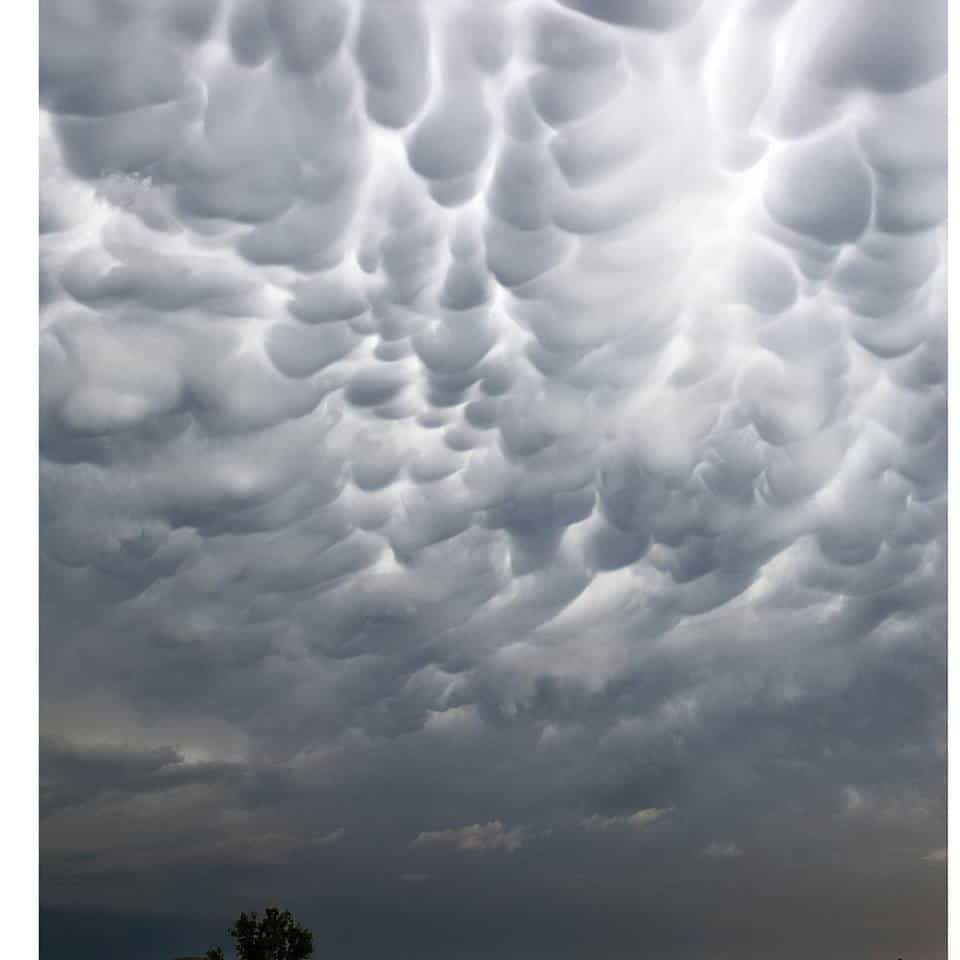 Mammatus clouds in Oklahoma today.