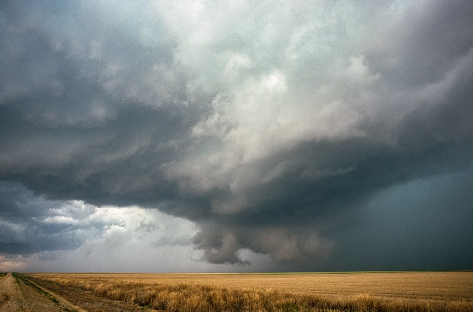 29 May 2001. On this day my cousin and I were chasing storms in southeast Colorado. We headed to a storm north of Lamar which produced a tornado near Wild Horse. The photograph shows the wallcloud of this storm south of Kit Carson, CO.