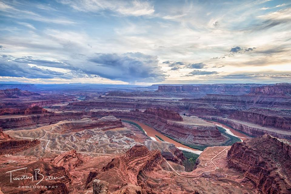Over Dead Horse Point in Utah, a distant thunderstorm forms which eventually made its way over to our location.