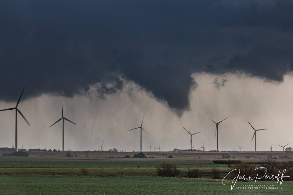 The mesocyclone that would go on to form the Trescott tornado formed this funnel about 20 minutes before that tornado touched down. I loved that it hovered over a wind farm.