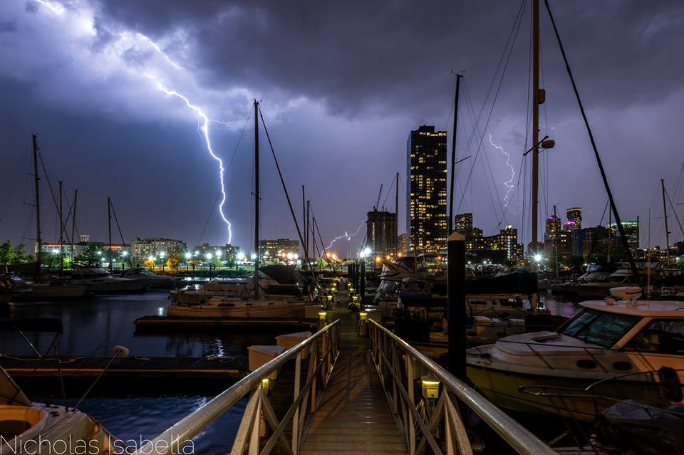 Last evening a line of thunderstorms moved from west to east across the tristate area with almost constant lightning for an hour straight. I was not in an ideal position but I grabbed my camera and captured this shot at my marina in Jersey City, New Jersey.