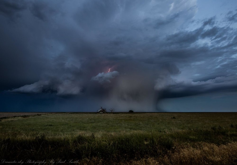16th July 2017 in Eastern Colorado. Happened upon some really awesome cells all afternoon long and into the night. This was a pretty cool storm with a rain shaft that grew character and looked right down on this old yardsite menacingly as it swept over.