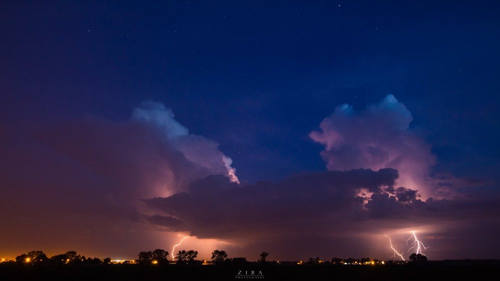 Two Cumulonimbus clouds producing lightning captured in SW Poland on Thursday evening. It was truly amazing watching them grow and become more and more active.