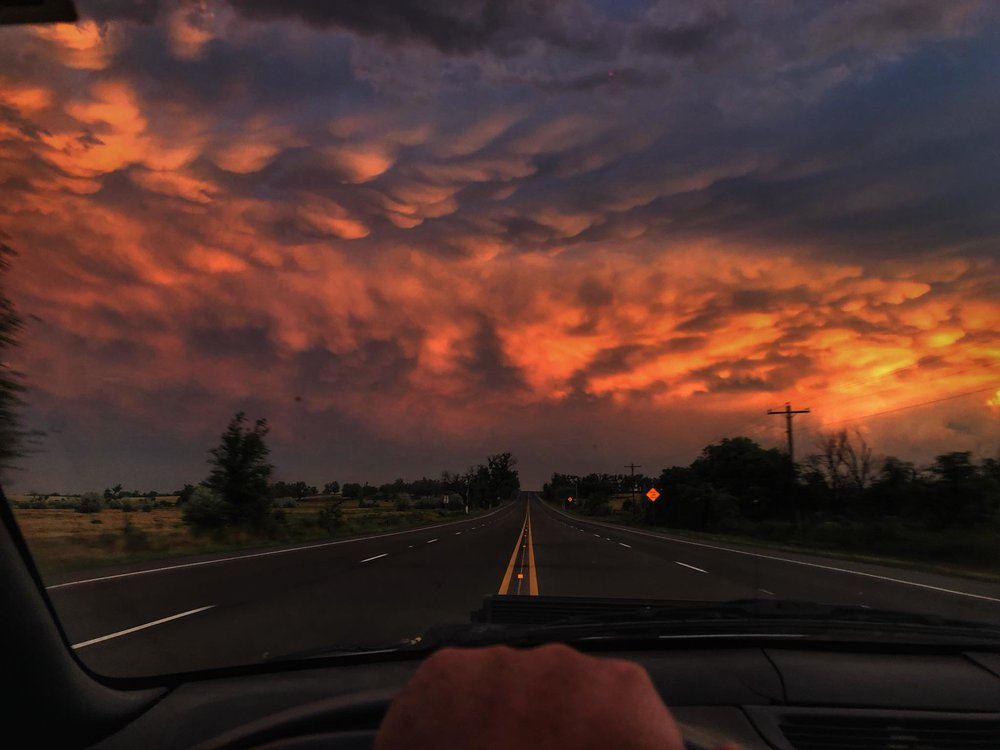 How's that for a sunset!? Mammatus display behind complex of storms in the Texas Panhandle yesterday evening