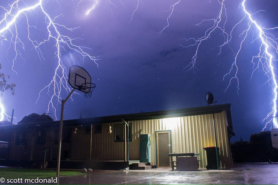 Wish I had a wider lens as these Big bolts struck over my house in Western Australia