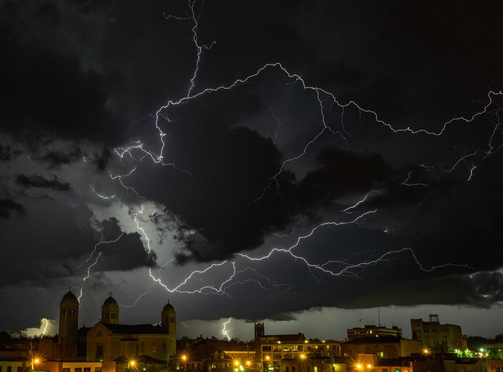 The Lightning Moves In Image captured tonight (5/14/2018) in downtown Jackson, Michigan.