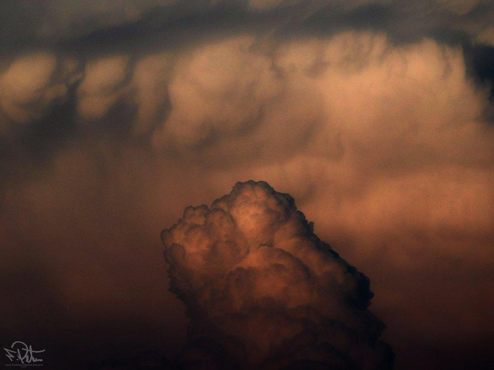 Cumulonimbus at sunset. Detail. Czech Republic 11.5.2018