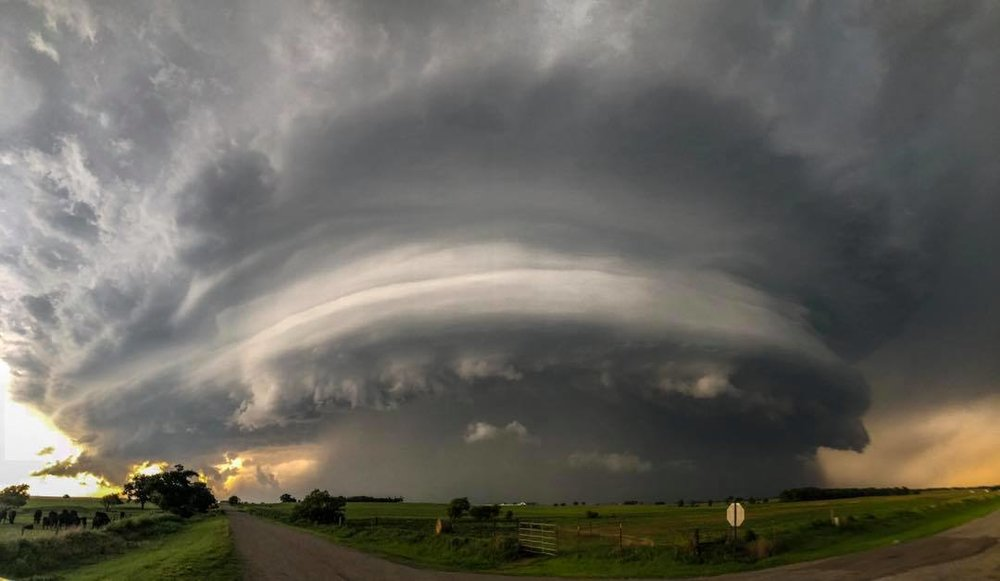 Cell phone pano of a storm as it was unloading on Erick, OK this evening. This storm dropped 3.25 inch hail on the town and there was some significant wind damage as well.
