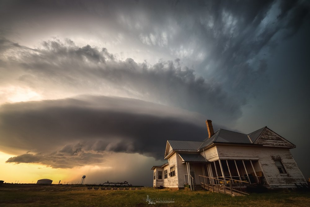 May 13, 2018, near Childress, Texas. Couldn't believe my eyes when we spotted this derelict home sitting in front of this strengthening supercell. It was just one of those moments where everything seems to fall in place, give me a shot like this every year I chase and I'll be happy!