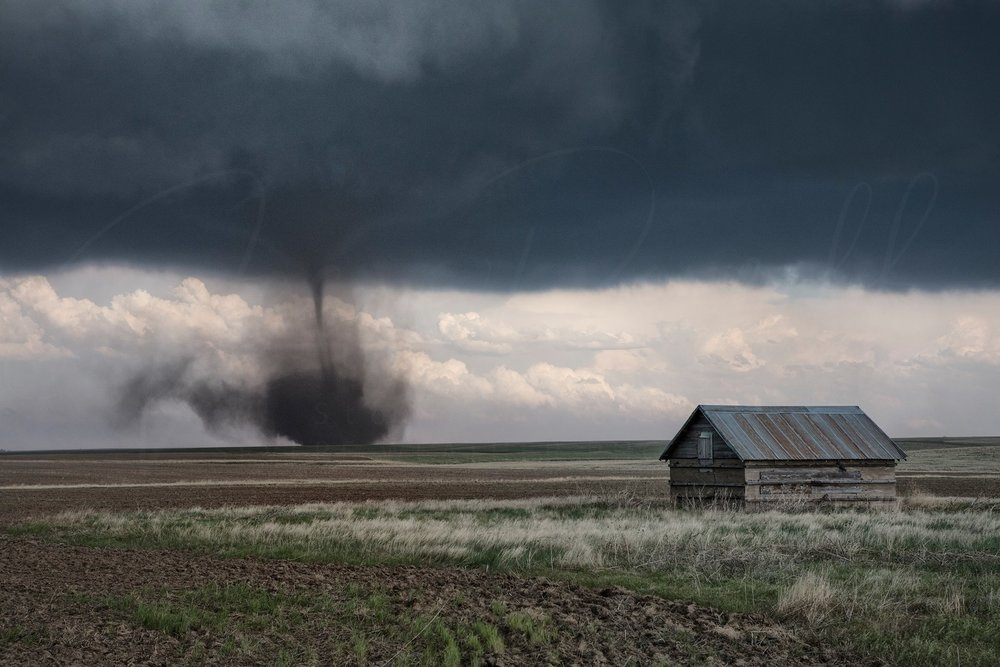 Today was one of the best days of chasing I've had since Dodge City in 2016. It always pays to play the boundary, but rarely to such beauty. Here an abandoned out building bears witness to a probable mesocyclone-tornado (versus landspout). Hard to tell. But beautiful all the same.