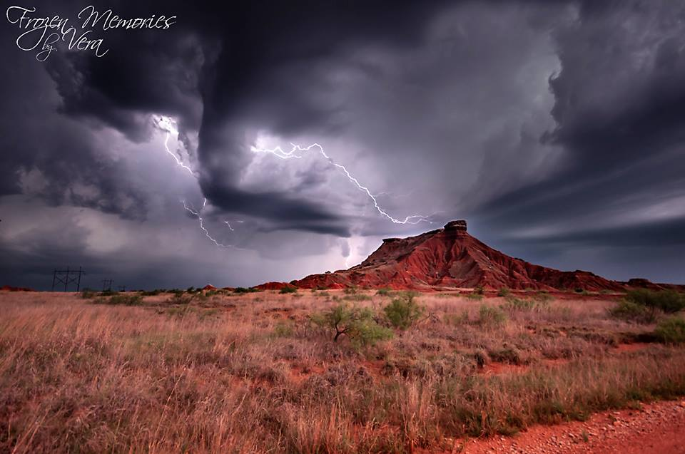 Lightning over the Gloss Mountains of Oklahoma May 30/18. The sheet lightning illuminated the scene so much it looked like daylight. See more of my work at  Frozen Memories by Vera