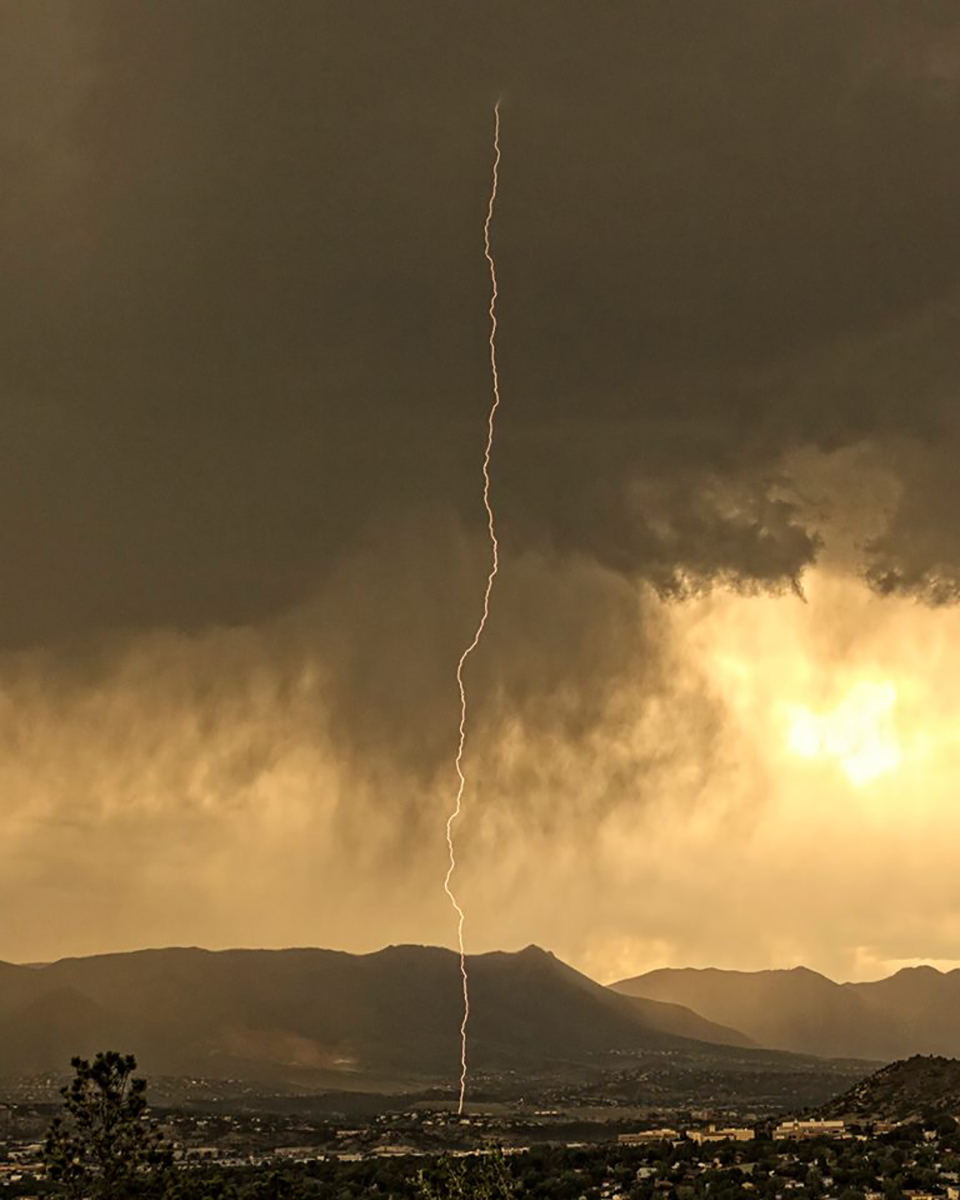 A lightning bolt from the storm passing thru this afternoon. This was from Palmer Park. Colorado Springs, Colorado 06/07/2018