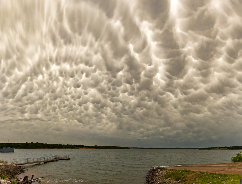 Busy skies for 360 degrees behind storms in Oklahoma this afternoon. Lake Arcadia 6/7/2018. 12 shot pano to almost overhead