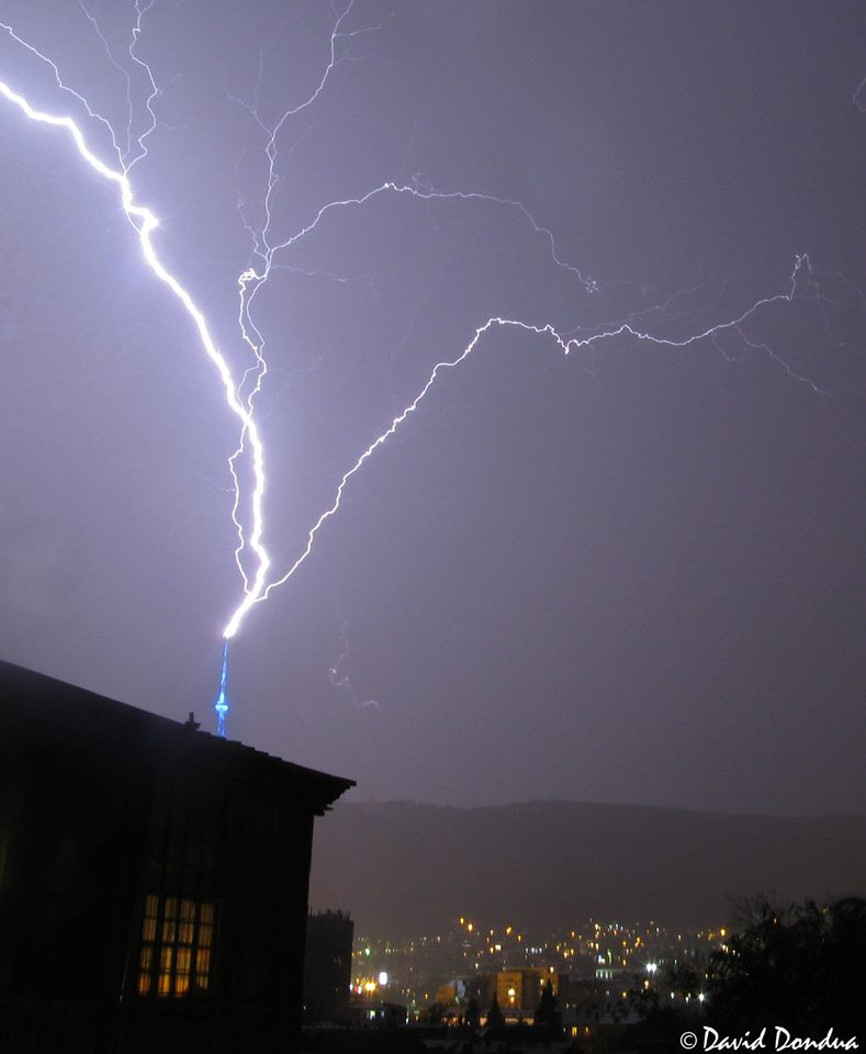 Upward lightning from TV tower 20 minutes ago. Tbilisi, Georgia.