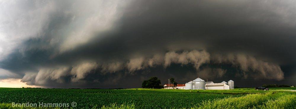 3 image pano of supercell storm near Nashua, IA (6/9/18)