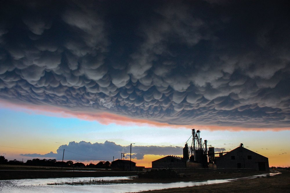 Crazy how beautiful the sky can be after mother nature blasts you with 80+ mph winds! Sunset Mammatus. Hart, TX May 15, 2018. Tour 3  www.TornadicExpeditions.com