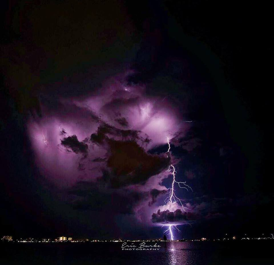 A small storm passing the southern tip of Pinellas county last night. Shot from Gulfport, FL.