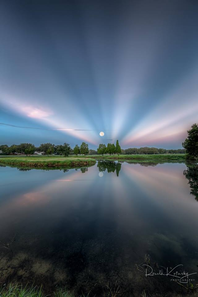 Morning Radiance - Anti-Crepuscular Rays - Aug 2018 -  rkotinsky.com  - the best I have ever seen with a full moon.  The moon has not been SHOPPED into the sky, yes you are looking West and the sunrise is behind me. I was told huge cumulonimbus clouds on the East coast of Florida caused the morning sunrise to split nicely as the moon set.   Read more if you do not believe  http://earthsky.org/earth/how-to-see-anticrepuscular-rays