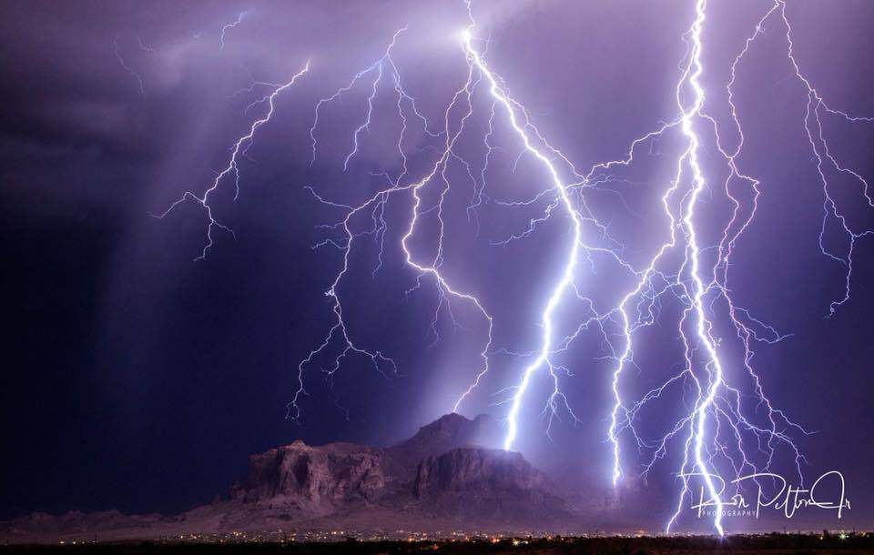 We to get some powerful lightning here in Arizona this is a single image with the Superstition Mountains in Apache Junction, Arizona