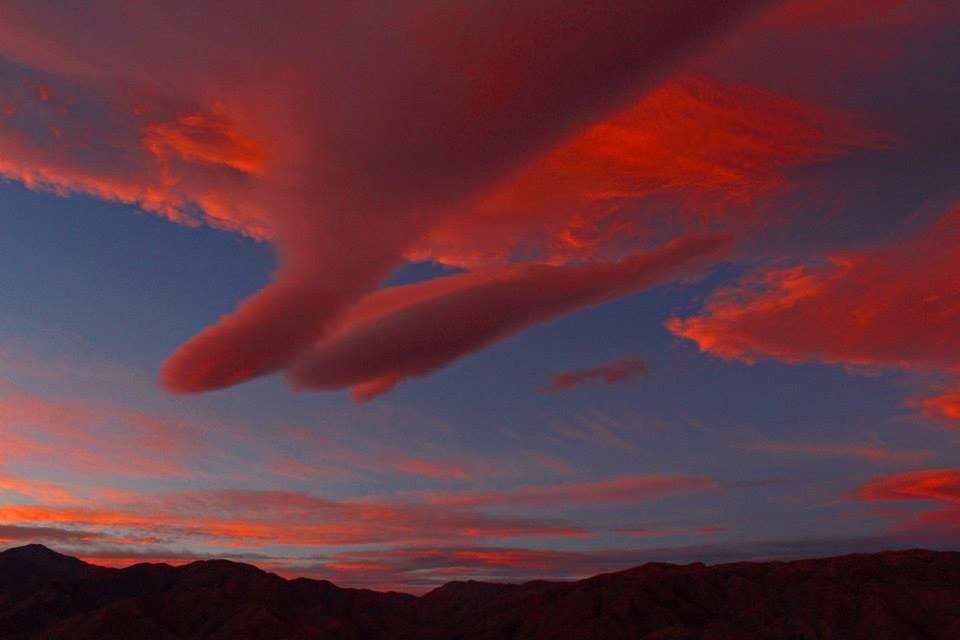Lenticular clouds at sunrise Morongo Valley, California