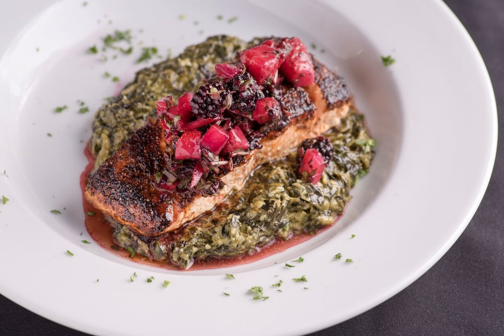 BLACKENED SALMON - BLACKBERRY SALSA, JALAPENO CREAMED SPINACH