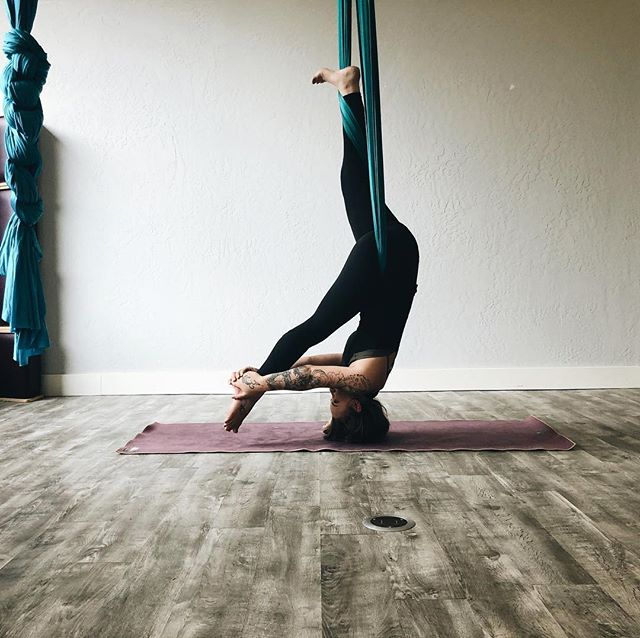 🤟🏽three spots left for beginner aerial yoga today at noon at @sacred.rebel.yoga.studio