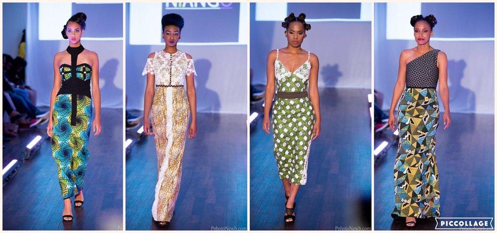 """Quatre robes de la collection """"African queens"""" de Niango. Crédit photo: Photonewb"""