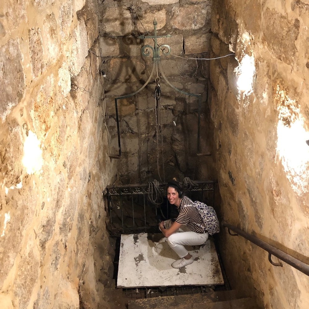 Recording the sounds of an ancient well  in Madaba, Jordan