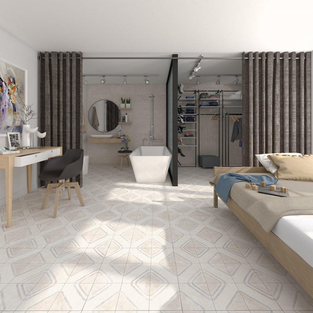 Los nuevo materiales permiten colocar maderas en el baño o en la cocina, una manera de establecer un espacio continuo