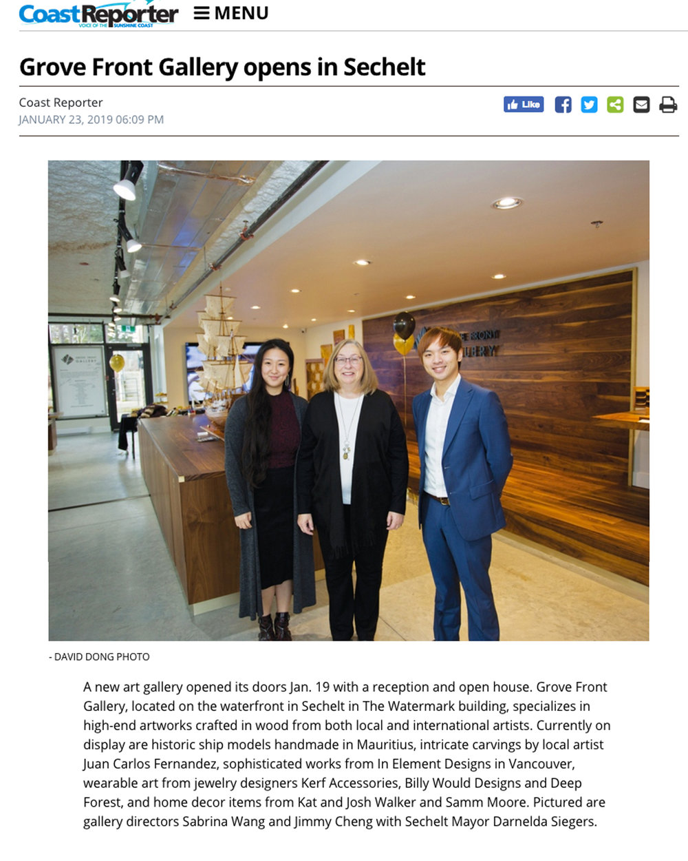 Article from the Coast Reporter: Credit to Heather Till  https://www.coastreporter.net/entertainment/arts-entertainment/grove-front-gallery-opens-in-sechelt-1.23610516