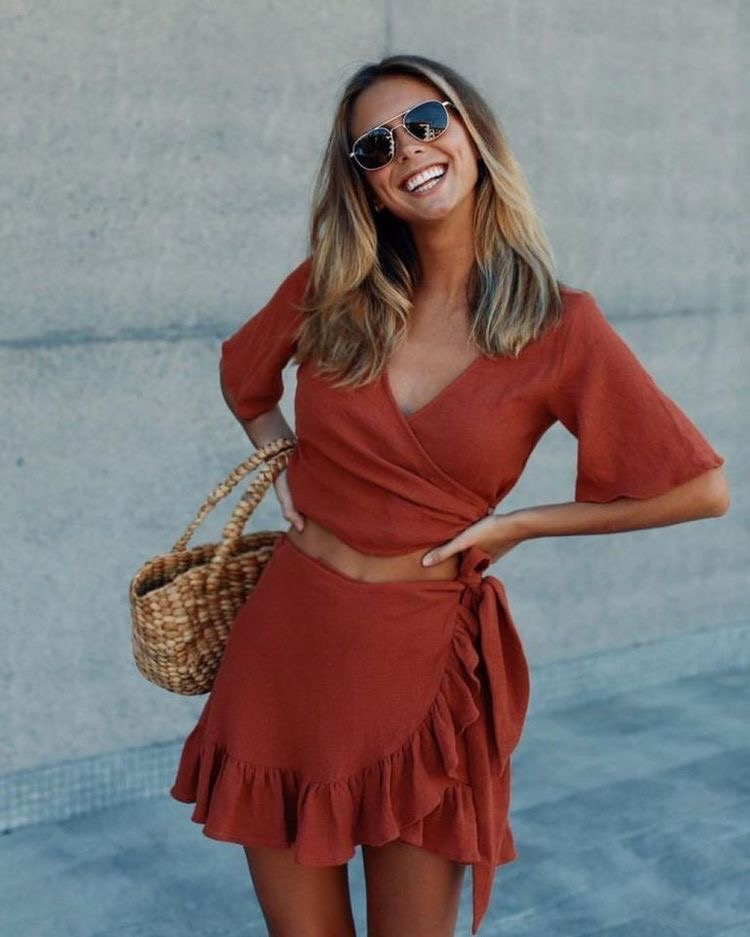 This rust color has been my FAVORITE color to wear. For this look I also love the ruffles.
