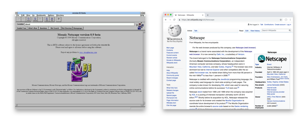 Netscape Navigator 1994 and Google Chrome 2018 (24 years). URL input bar, prominent navigation controls, back/forward linear navigation.