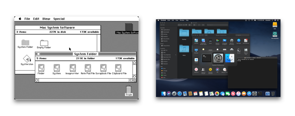 Mac OS 1984 and 2018 (34 years). Grid of icons, layered windows, cursor, desktop metaphor, omnipresent menu bar.