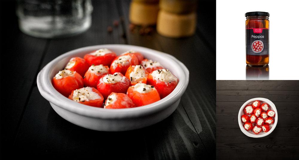 Studio-opname van food-fotografie serie voor verpakkingen van Deli del Paola. Art-Direction: Edwin Staps
