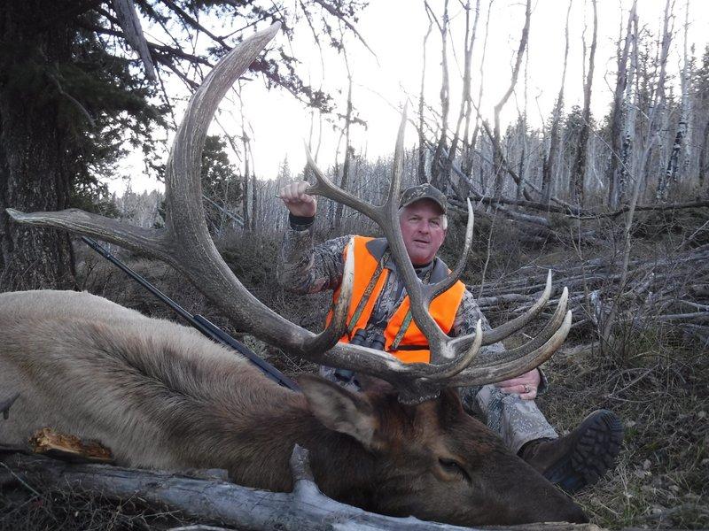 Greg G big bull elk with Bull Basin Outfitters.JPG