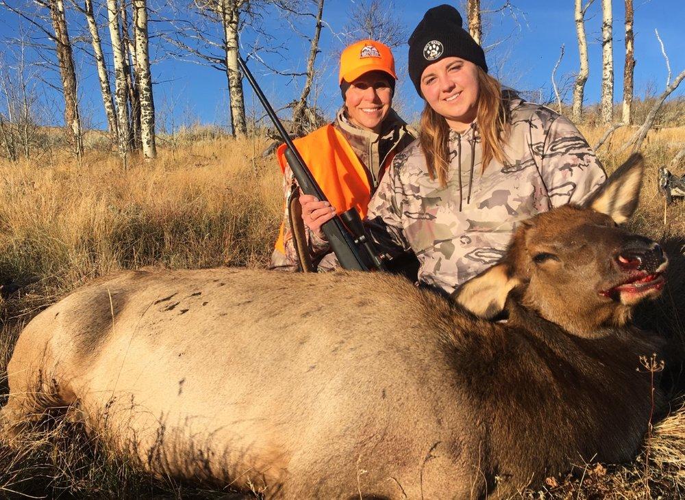 Skeeter and Susan with her cow elk.jpg
