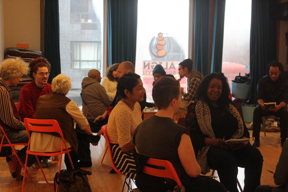 Workshop participants in Brooklyn.
