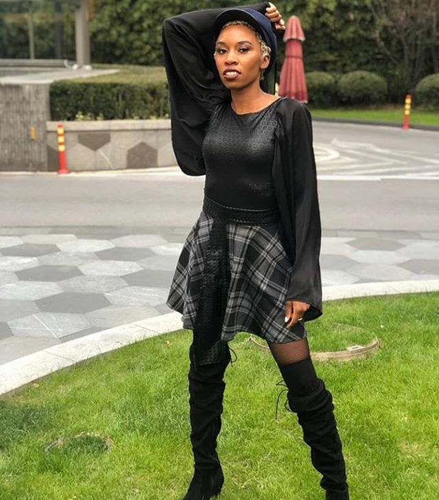 Here's to a great start to the New Year!🎉🎉 @carriebernans in our Kilae Skirt and Bat-Sleeve Top😍😍😍. You can still shop these festive pieces on the site! Use code THANKYOU for 15% off!! . . . #China #Holidays #NYE #NewYear #BlackPanther #Mood #vibes #leap #celebrate #ThankYou #bodysuit #NgozikaOkeke